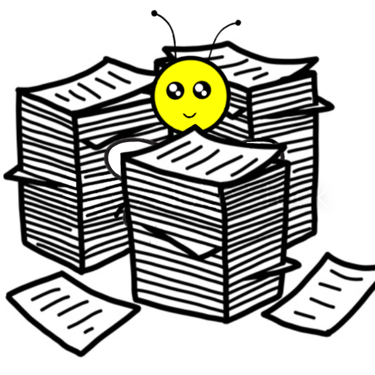 A bee swimming in documents